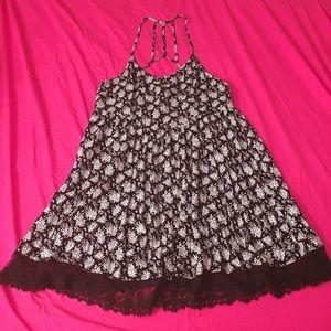 Forever21+ Low Cut Drop Waist Floral Lace Dress